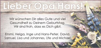Anzeige Hans